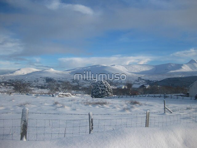 snowy mountain scene by millymuso