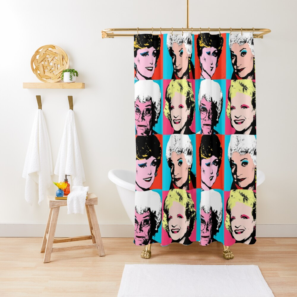 Golden Warhol Girls Shower Curtain