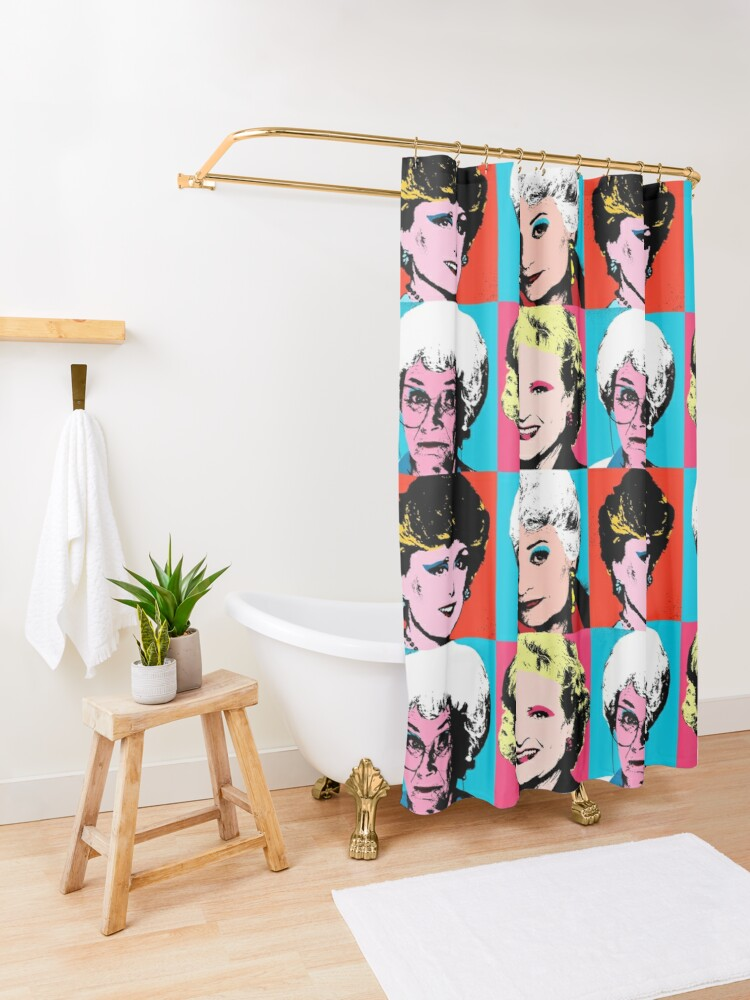 Alternate view of Golden Warhol Girls Shower Curtain