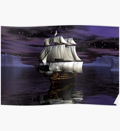 HMS Victory - Starry Night Poster