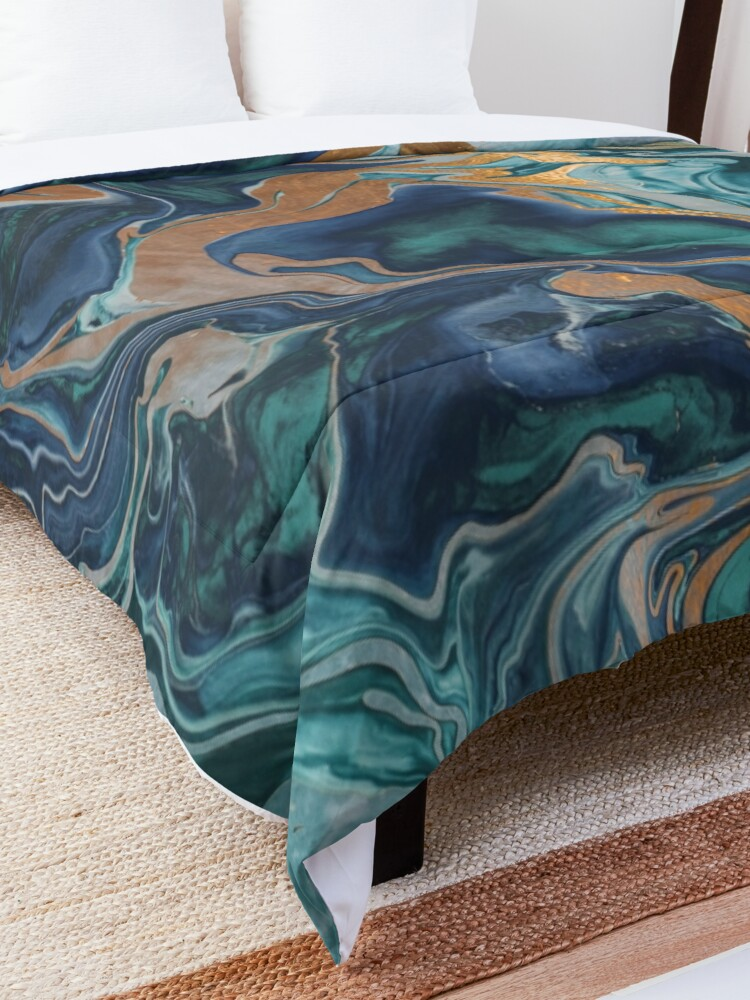 Alternate view of DRAMAQUEEN MARBLE GREEN by Monika Strigel Comforter