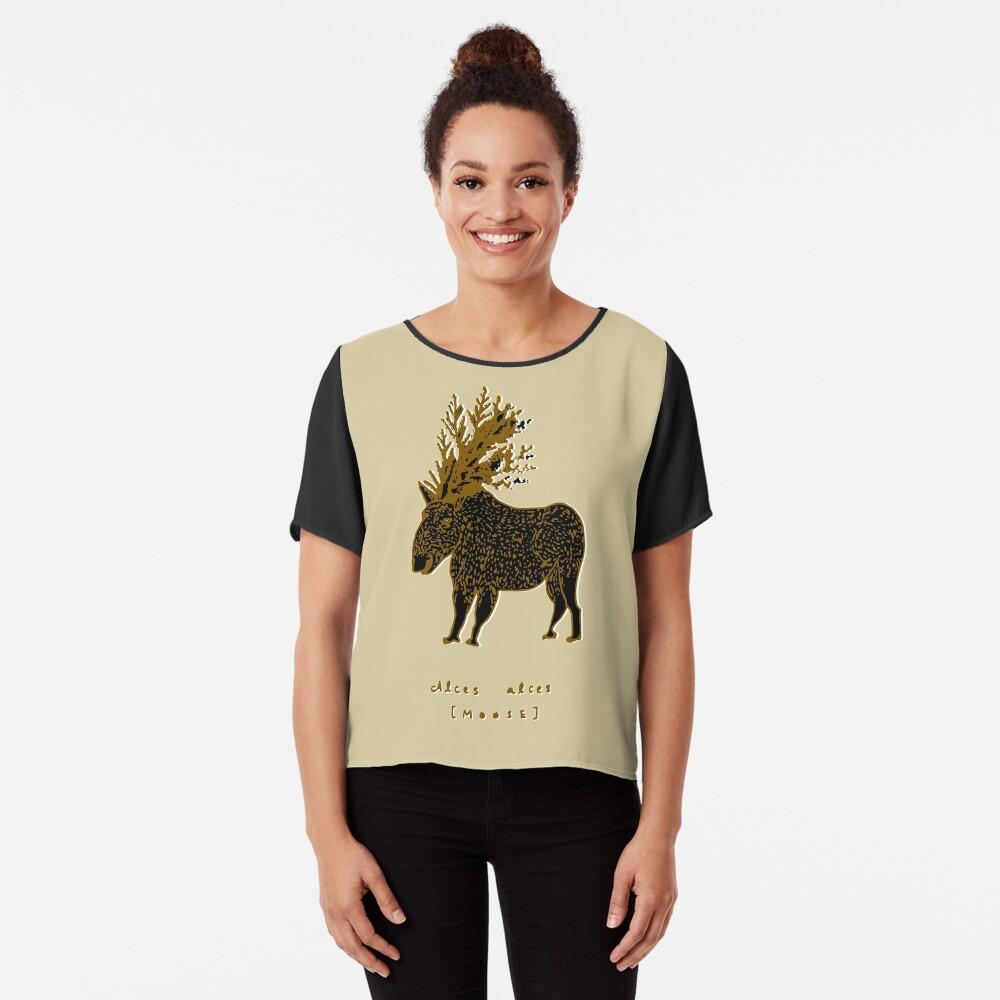 Golden Moose Alces Alces Chiffon Top