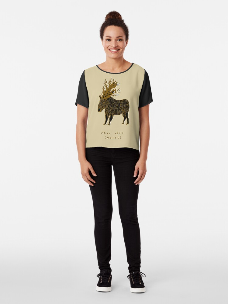 Alternate view of Golden Moose Alces Alces Chiffon Top