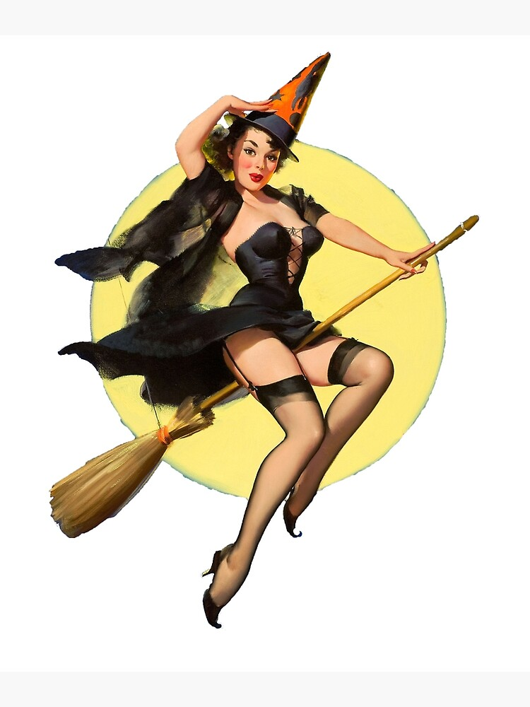 Witch Pinup Girl Halloween Vintage Pin Up Greeting Card By Argosdesigns Redbubble