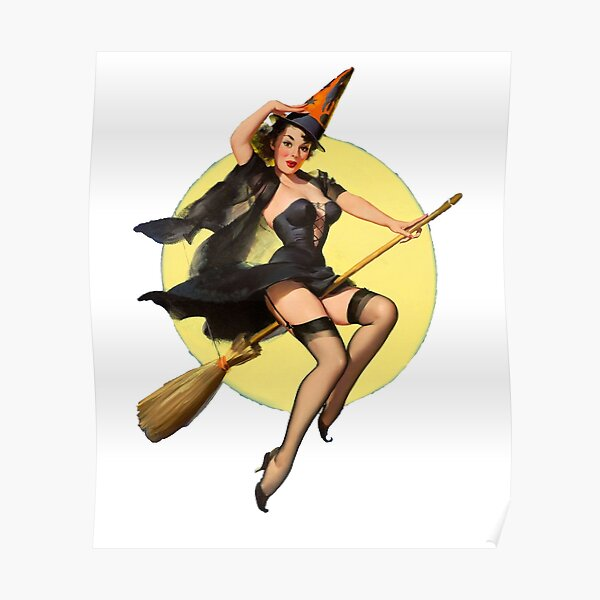 Witch Pinup Girl Halloween Vintage Pin up Poster
