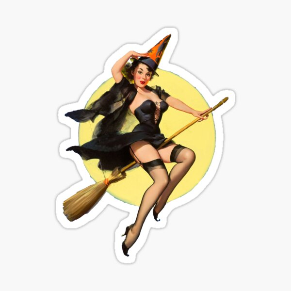 Witch Pinup Girl Halloween Vintage Pin up Sticker
