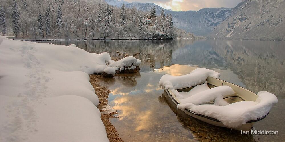 Snowy Boat on Bohinj by Ian Middleton