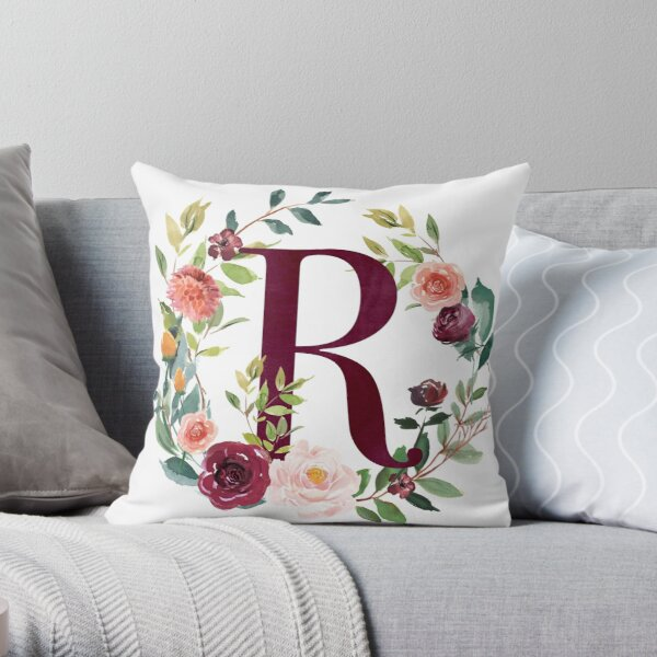 Floral Wreath Monogram - R Throw Pillow