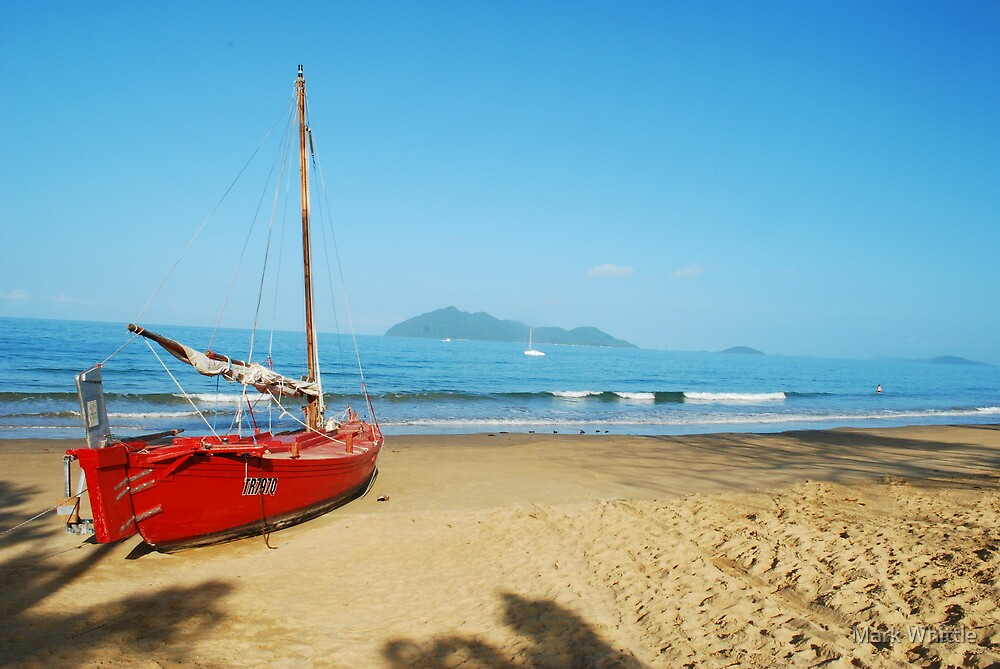 Red Yacht on Mission Beach by Mark Whittle