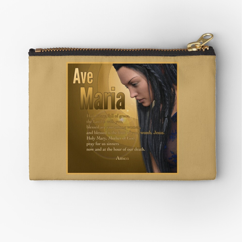 Hail Mary - Ave Maria - The prayer in English Zipper Pouch