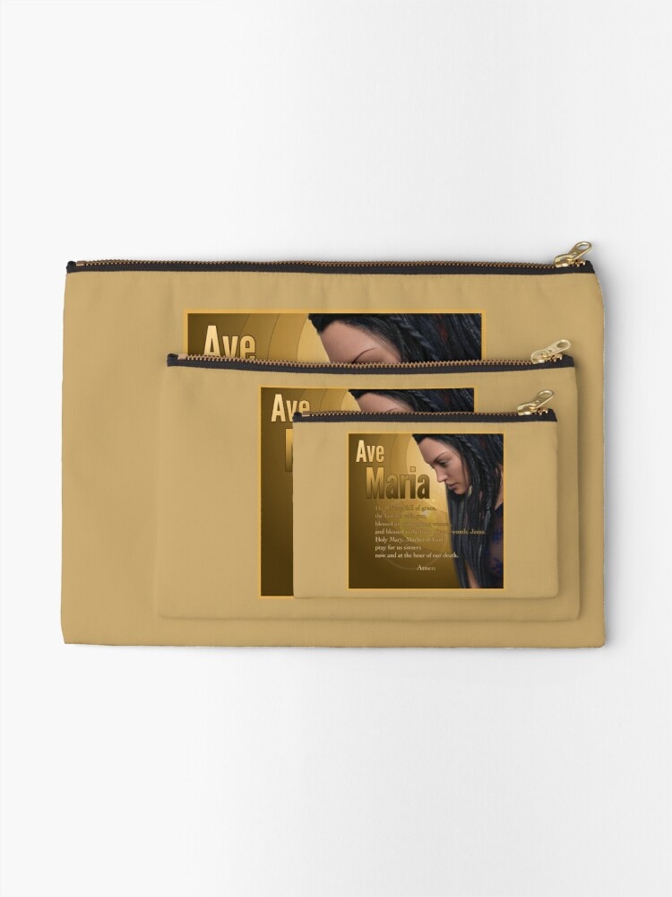 Alternate view of Hail Mary - Ave Maria - The prayer in English Zipper Pouch