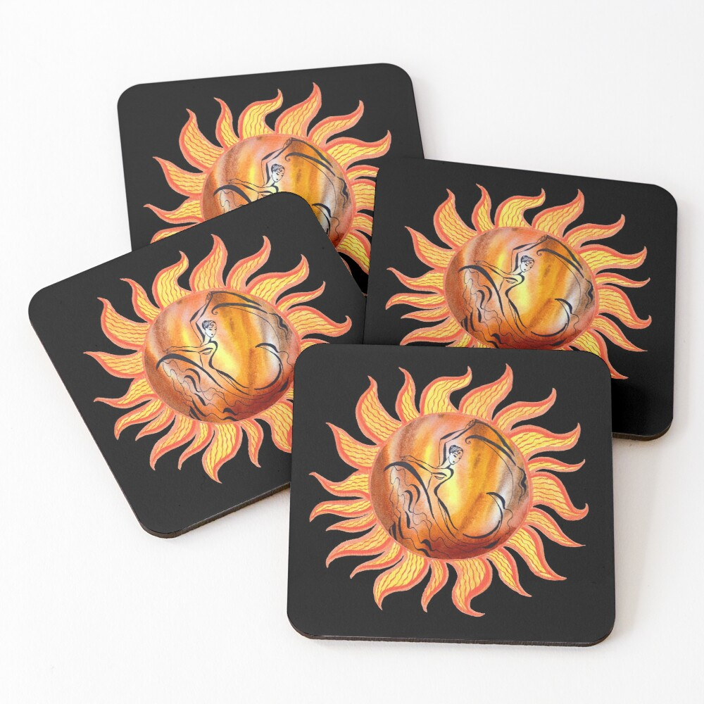 Solar Flamenco Dance Sun Watercolor Painting  Coasters (Set of 4)