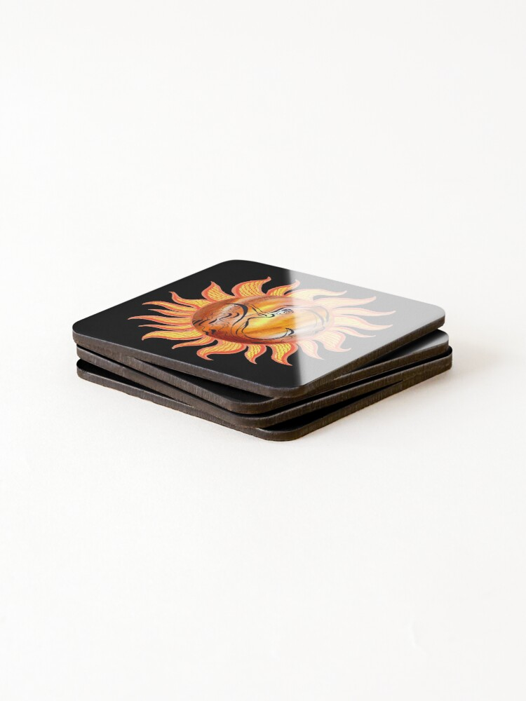 Alternate view of Solar Flamenco Dance Sun Watercolor Painting  Coasters (Set of 4)