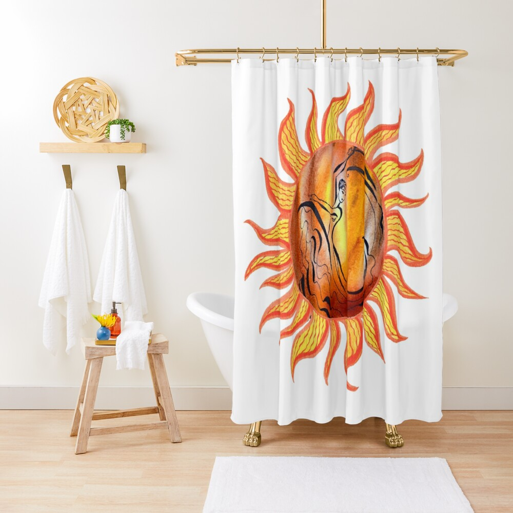 Solar Flamenco Dance Sun Watercolor Painting  Shower Curtain