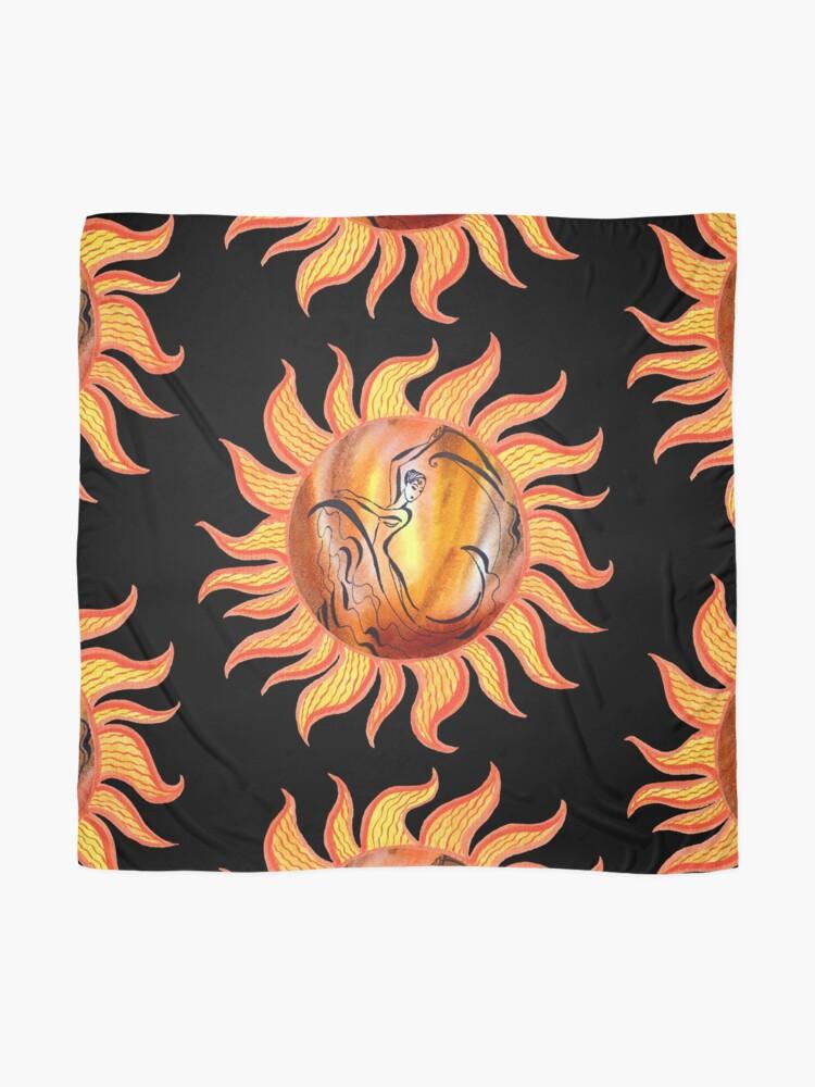 Alternate view of Solar Flamenco Dance Sun Watercolor Painting  Scarf