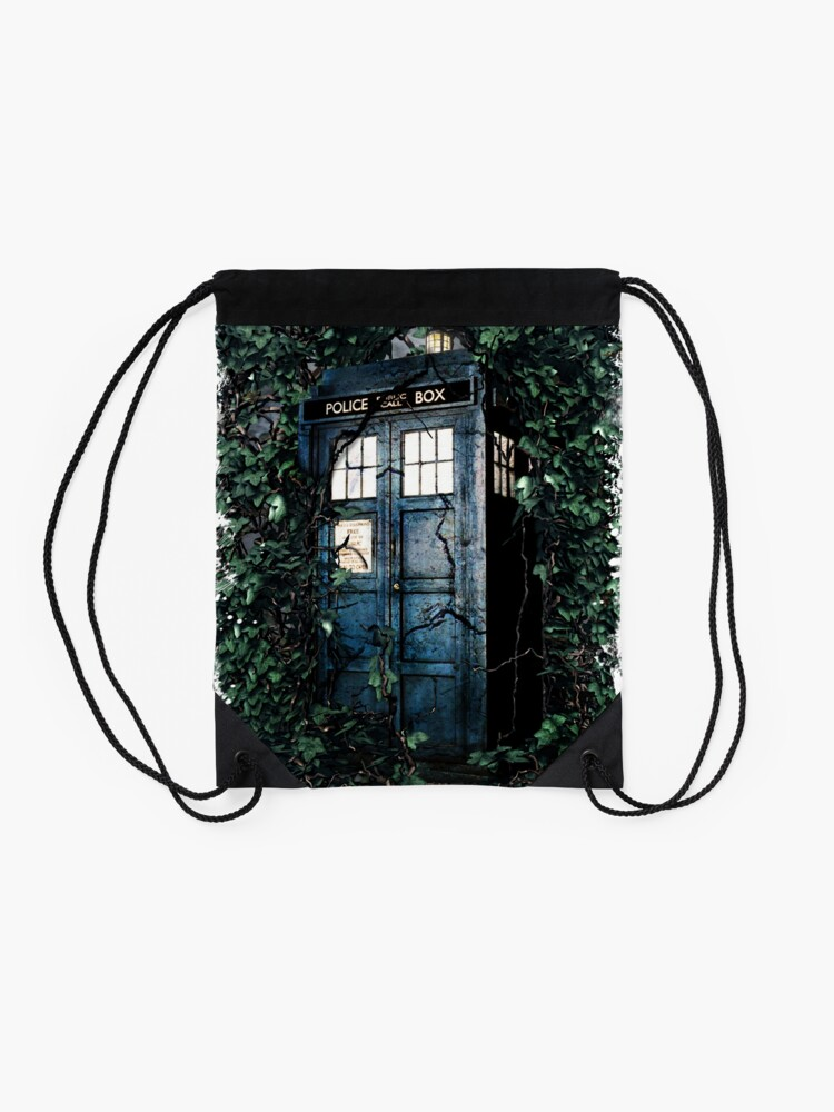 Alternate view of Police Box in The Garden Hoodie / T-shirt Drawstring Bag