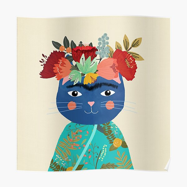 Frida cat with flower crown by Mia Charro Poster