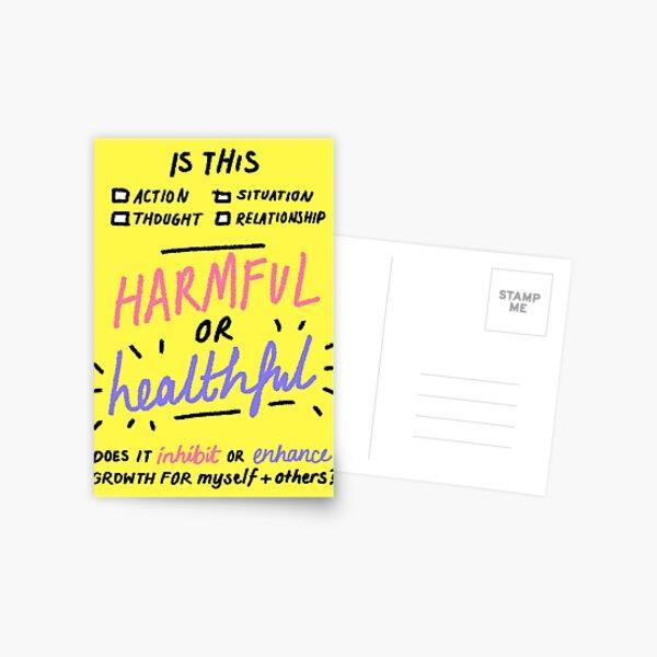 harmful or healthful Postcard