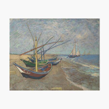 Fishing Boats on the Beach at Les Saintes-Maries-de-la-Mer by Vincent Van Gogh Art Board Print