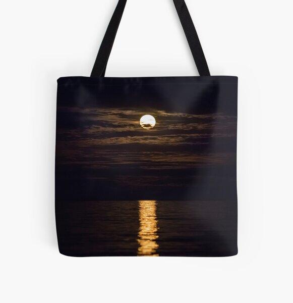 Hunter's Moon, Full Moon, October, Halloween Moon All Over Print Tote Bag