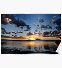 Pelican Sunset on Lake Macquarie NSW Australia Poster