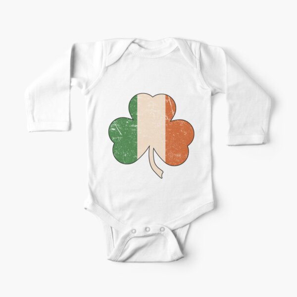 Distressed Irish Shamrock Long Sleeve Baby One-Piece