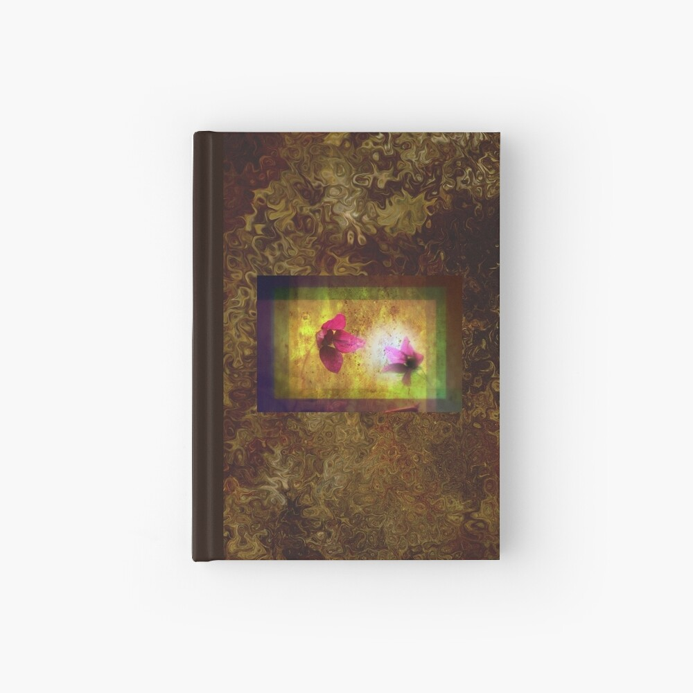 marriage of Titania; Salmon berry floral duet on brown  Hardcover Journal