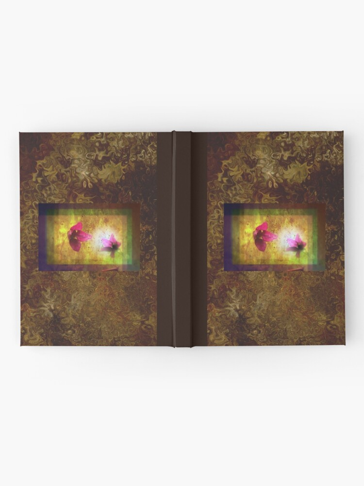Alternate view of marriage of Titania; Salmon berry floral duet on brown  Hardcover Journal