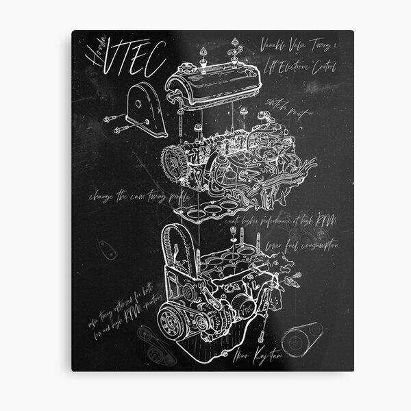 VTEC Engine Artistic Styled BluePrint/Sketch  Metal Print