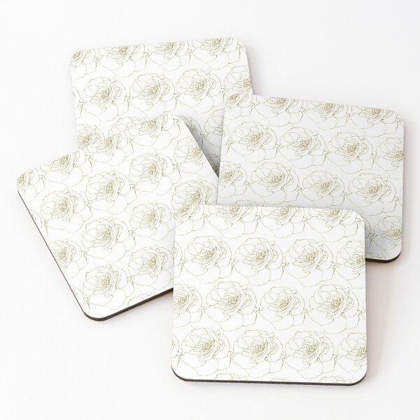 White & Gold Rose Pattern Coasters (Set of 4)