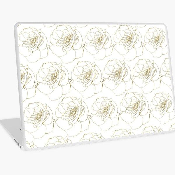 White & Gold Rose Pattern Laptop Skin