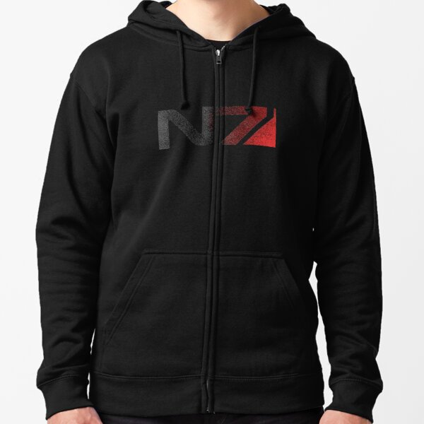 Mass Effect N7 Distressed Logo Zipped Hoodie