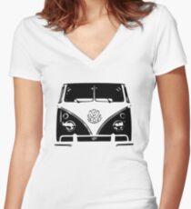 VW Kombi Black design Women's Fitted V-Neck T-Shirt