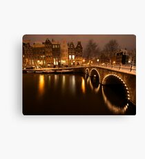 Amsterdam in Snow Canvas Print