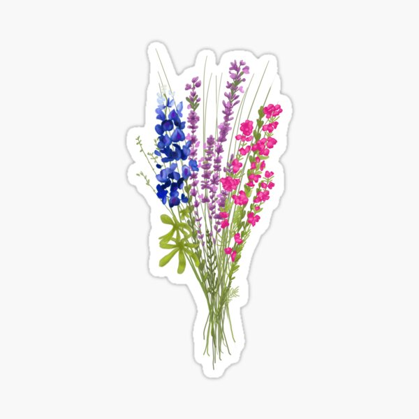 subtle bi pride flowers Sticker