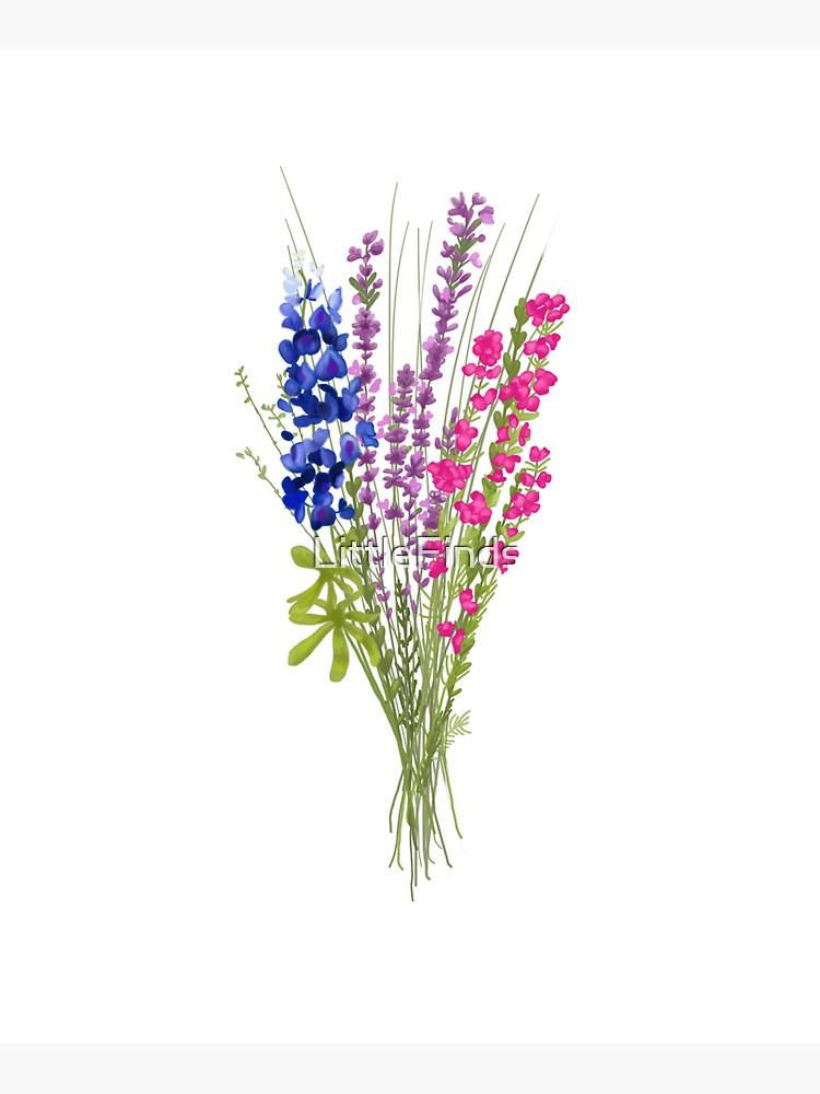 subtle bi pride flowers by LittleFinds