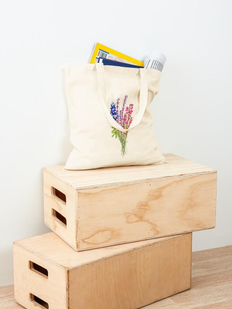 Alternate view of subtle bi pride flowers Tote Bag