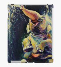 Joy - Happy Baby Elephant Playing in Water - Fine Art Painting iPad Case/Skin