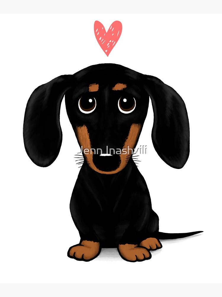 Black and Tan Dachshund with Heart | Cute Cartoon Wiener Dog by ShortCoffee