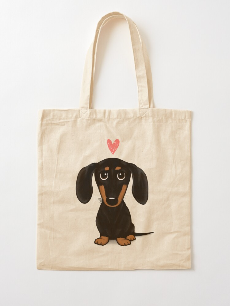 Alternate view of Black and Tan Dachshund with Heart | Cute Cartoon Wiener Dog Tote Bag