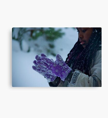 The purple gloves Canvas Print