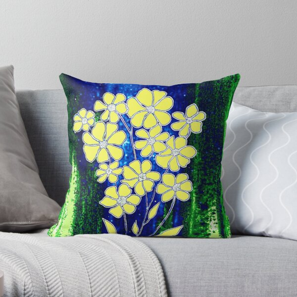 Flowers in Yellow Throw Pillow