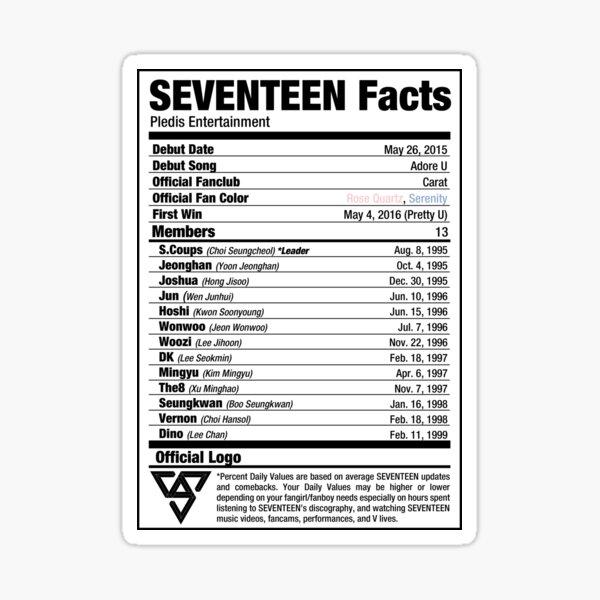 SEVENTEEN Kpop Nutritional Facts Sticker