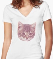 Swaggy Cute Kitten  Women's Fitted V-Neck T-Shirt