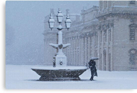 Fountain in Snow by KarenM