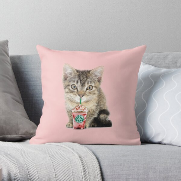 Sweet cat by Alice Monber Throw Pillow