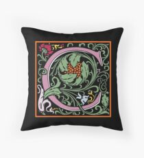 Letter C | A WILLIAM MORRIS ENGLISH CALIGRAPHY FONT Alphabet | Decorative initial B coloured Throw Pillow