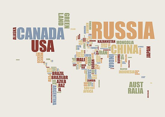World Map in Words 2 by Michael Tompsett
