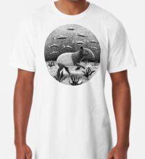Tapirs can swim underwater | Black and White Illustration Long T-Shirt