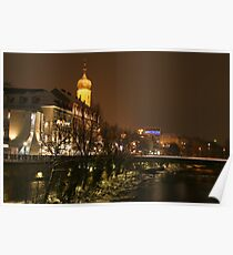 City skyline of Graz in Winter at the River Mur Poster
